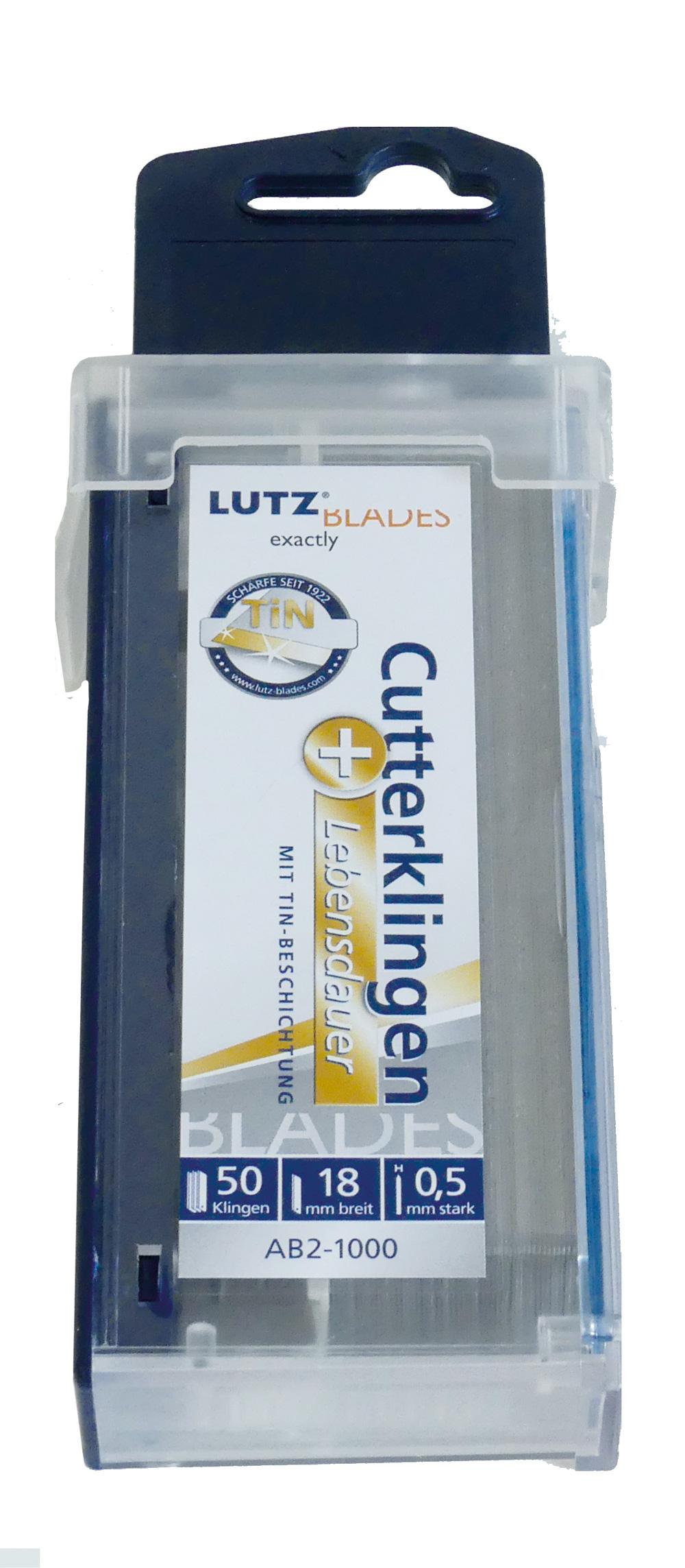 Lutz Abbrechklinge AB2-SZ, 18 mm, TiN, Sicherheitsspender (50 Stück)
