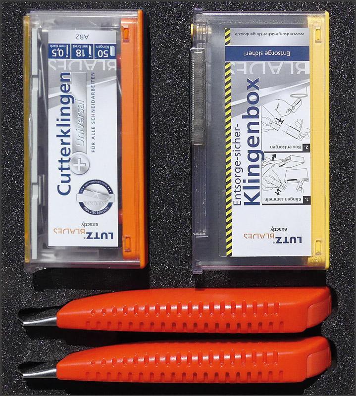 Lutz Promopack Safety-Boxen, 18mm Cutter, 50 Klingen & Safety-Box