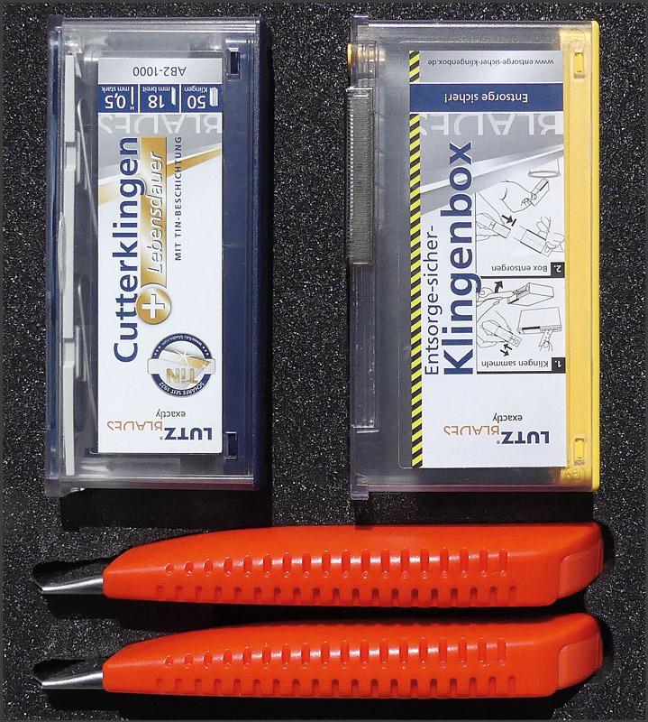 Lutz Promopack Safety-Boxen-TIN, 2 x 18mm Cutter, 50 Klingen & Safety-Box